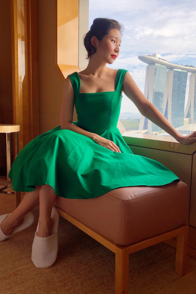 Florence Swing Dress in Kelly Green