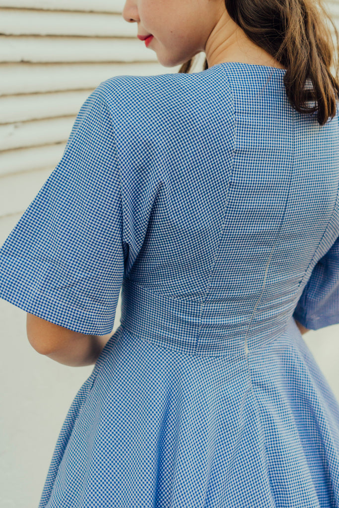 Miko Kimono Dress in Blue Checkered