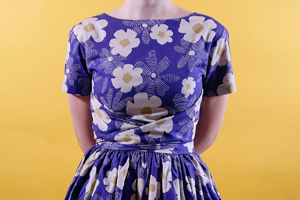 Tweedle Swing Dress in Blue Floral