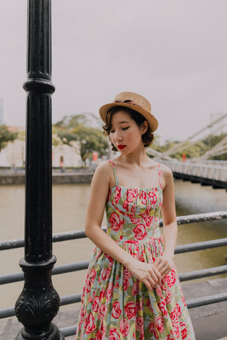 Mandarin Swing Dress In Red