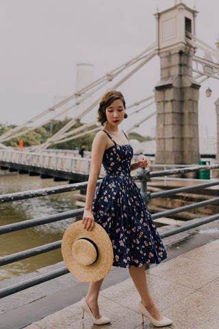 Diana Swing Dress in Navy and Coral Poppy