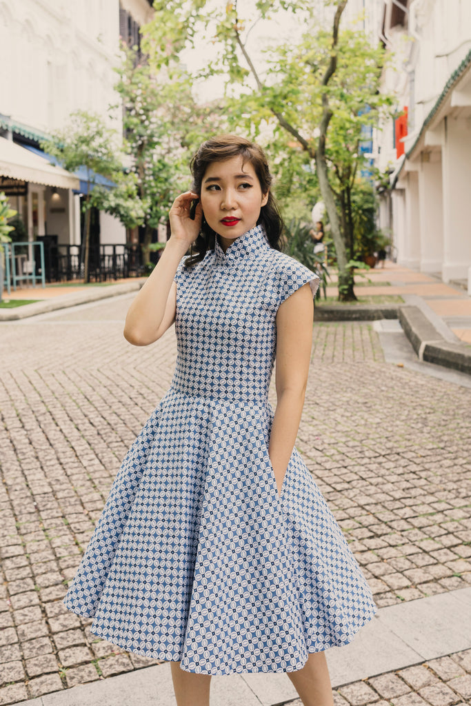 Ah Keow Swing Dress In Navy Floral Modern Batik