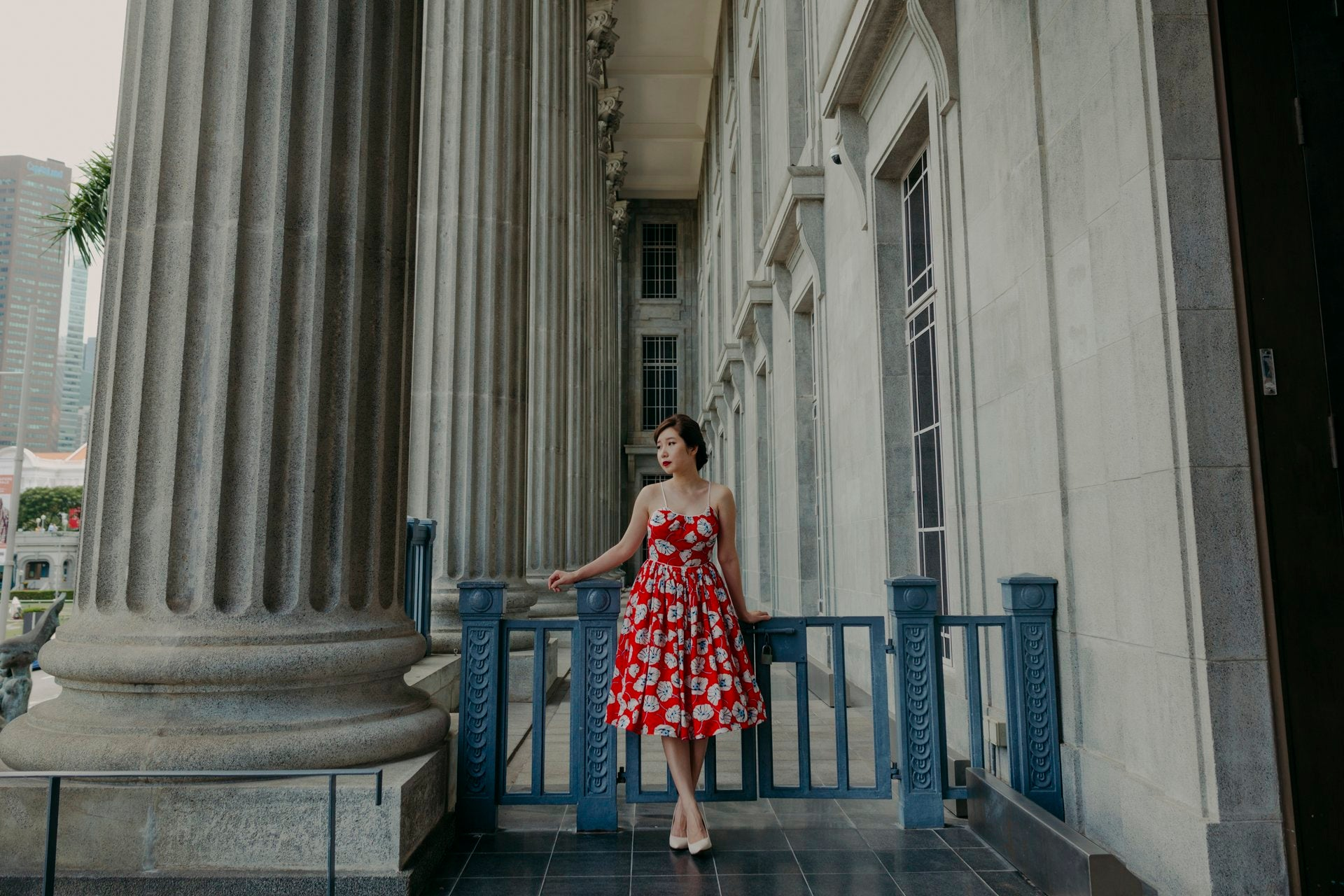 1950s inspired dress with pink sakura on navy blue fabric