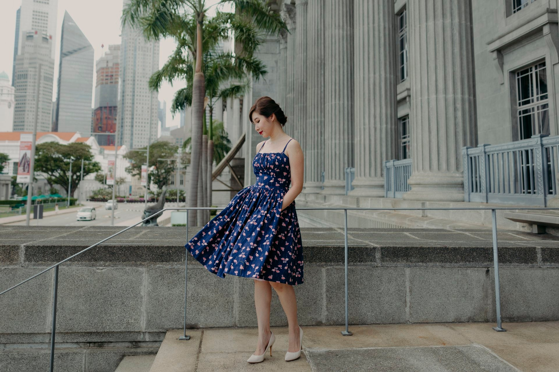 1950s inspired cheongsam with circle skirt in yellow