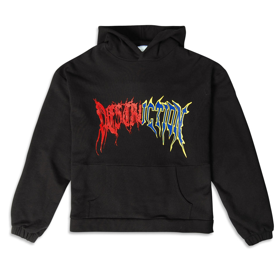 Destruction Slogan Hoodie Black