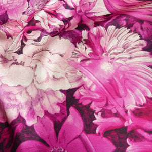 pink floral design on pure silk women scarf