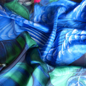 blue feather pattern on pure silk women's scarf