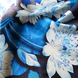 blue lotus flower design on pure silk scarf
