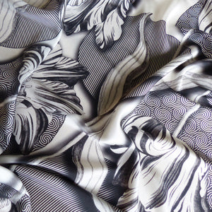 black and white tulip flower pattern on pure silk scarf