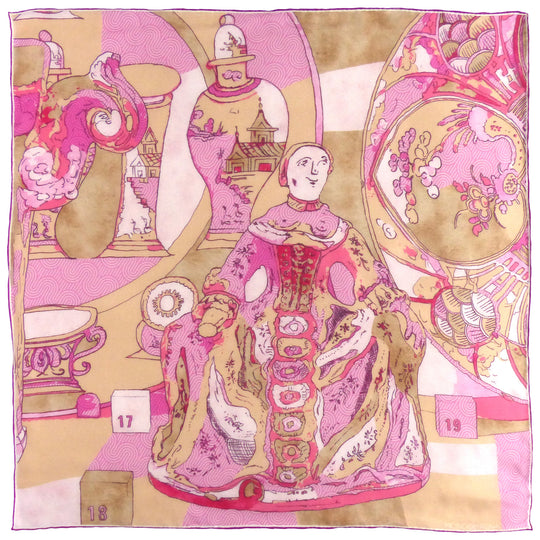 pink chiffon scarf showing painting of ceramics