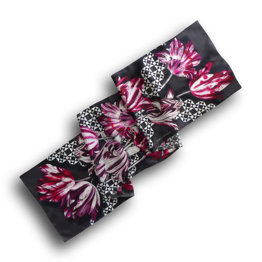 Long Silk Habotai Scarf (160 cm) - Tulip Red/Black-MondoMagna