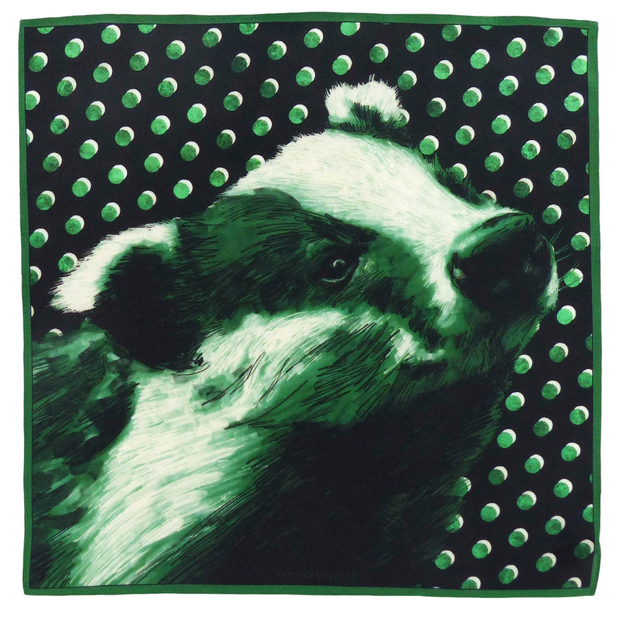 Silk Pocket Square (40cm) - Badger Green-MondoMagna