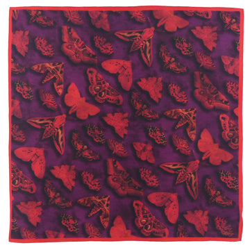 Silk Pocket Square (40cm) - Moth Red/Purple-Made in England-MondoMagna