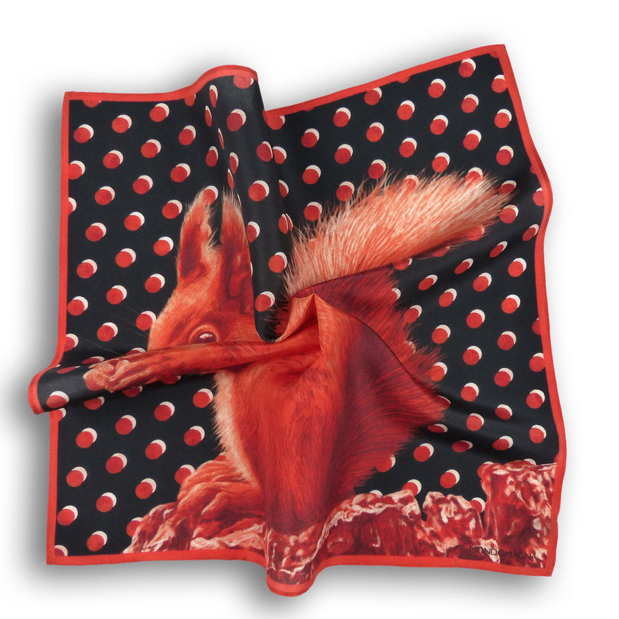 Silk Pocket Square (40cm) - Squirrel Russet Red-MondoMagna