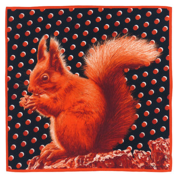 Silk Pocket Square (40cm) - Squirrel Russet Red-Made in England-MondoMagna