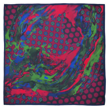 Silk Pocket Square (40cm) - Stourhead Red/Green-Made in England-MondoMagna