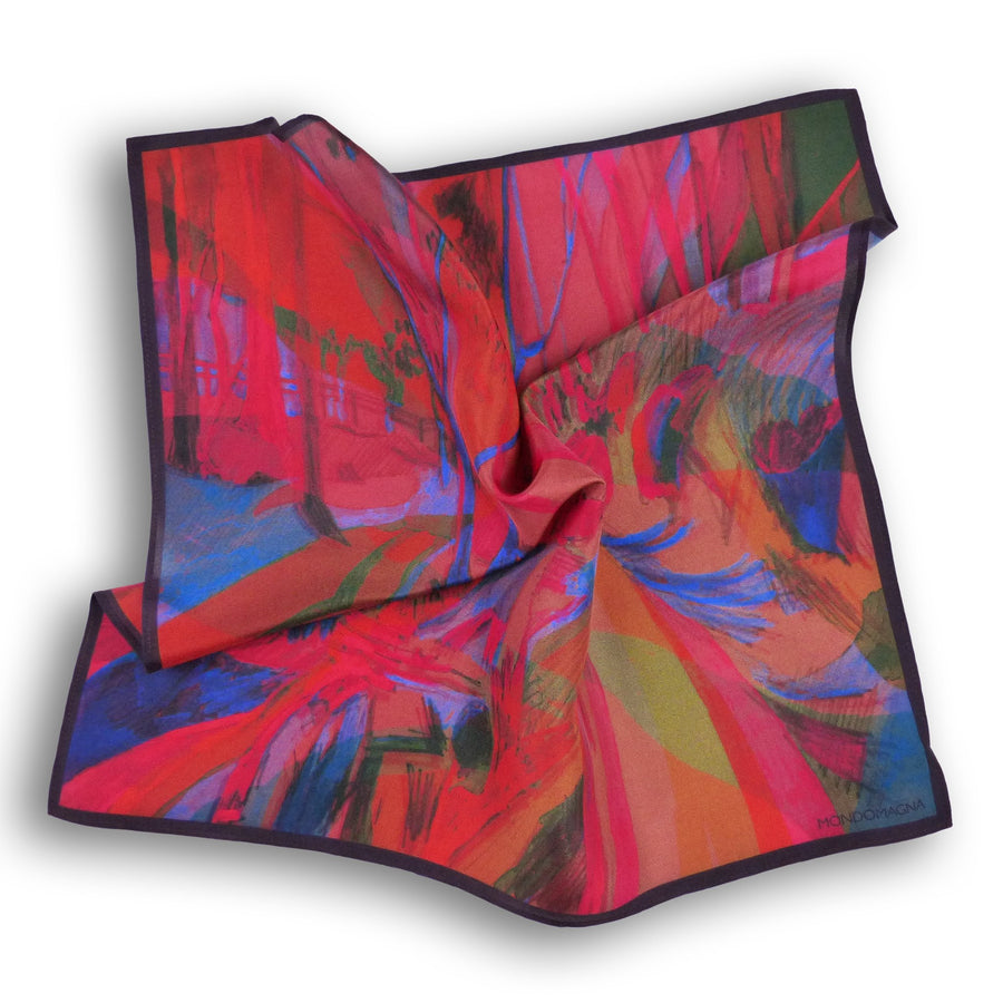 Silk Pocket Square (40cm) - Woodland Red-Made in England-MondoMagna