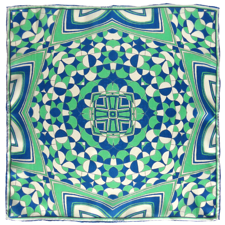Silk Pocket Square (42cm) - Benny Blue/Green-Made in England-MondoMagna