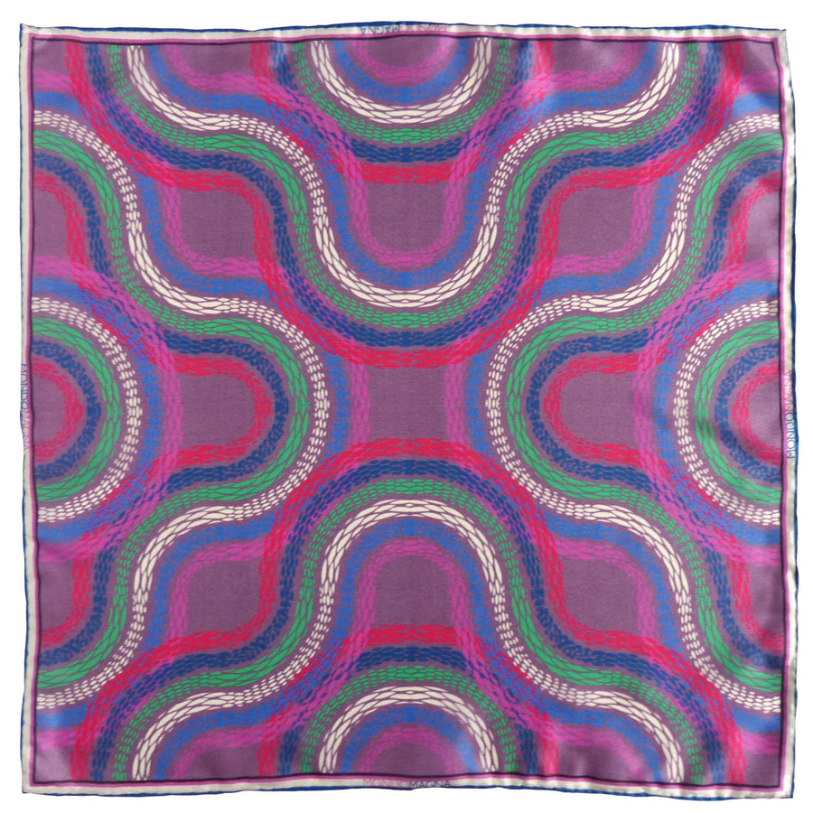 Silk Pocket Square (42cm) - Massimo Aubergine-MondoMagna