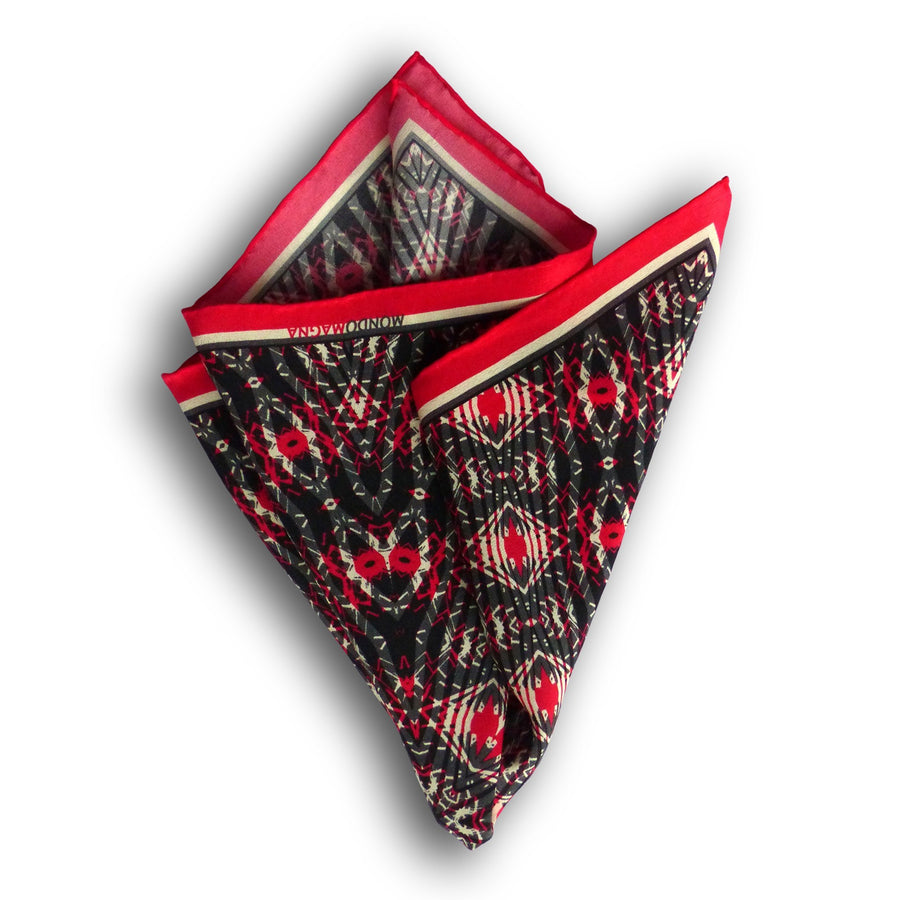 Silk Pocket Square (42cm) - McKenzie Red/Black-MondoMagna