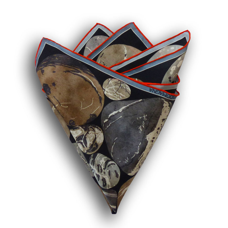 Silk Pocket Square (42cm) - Pebble Natural-MondoMagna