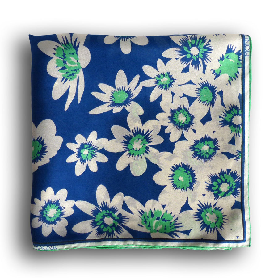 Silk Pocket Square (42cm) - Thomas Blue/Green-MondoMagna