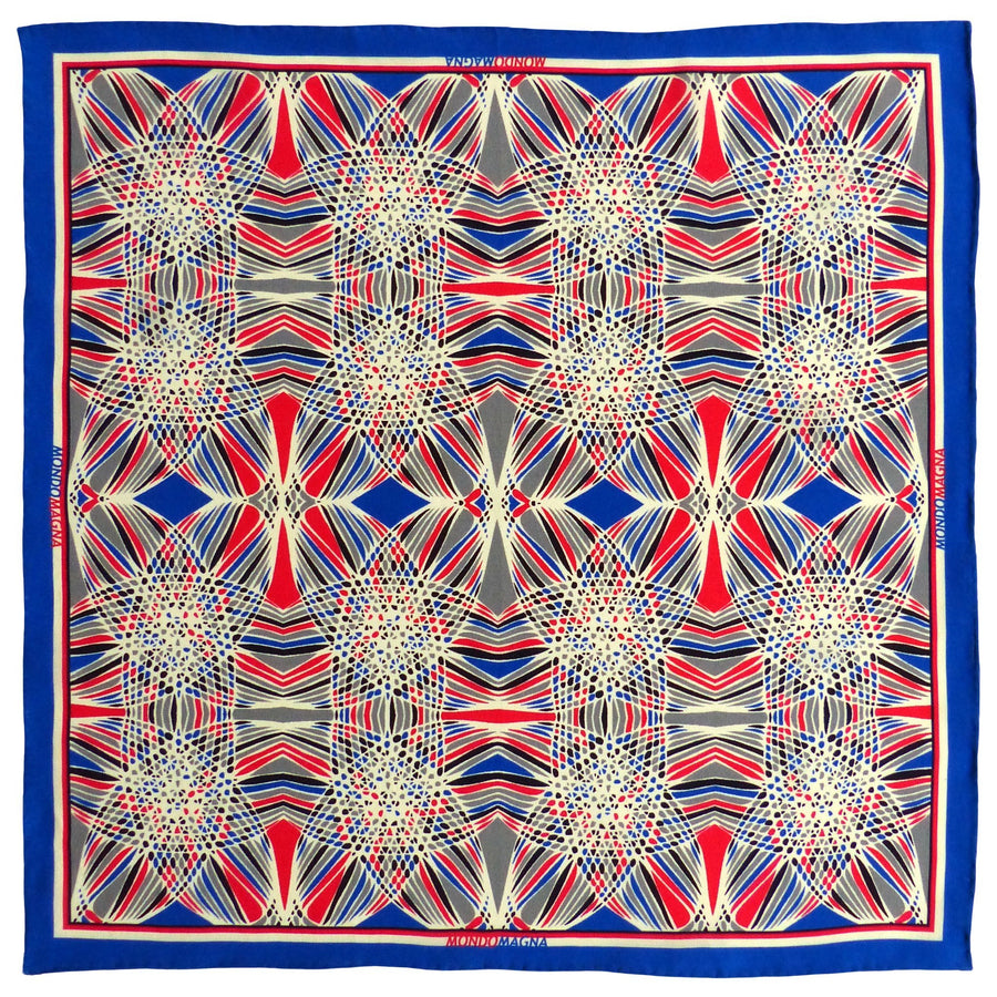 Silk Pocket Square (42cm) - Woody Red/Blue-Made in England-MondoMagna