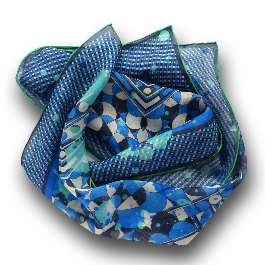 Square Silk Scarf (65cm) - Betty Blue-Made in England-MondoMagna