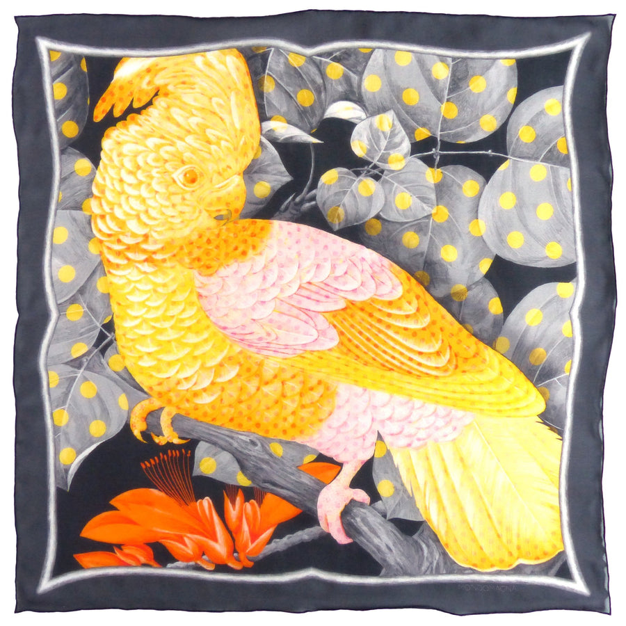 Square Silk Scarf (65cm) - Cockatoo Yellow-MondoMagna