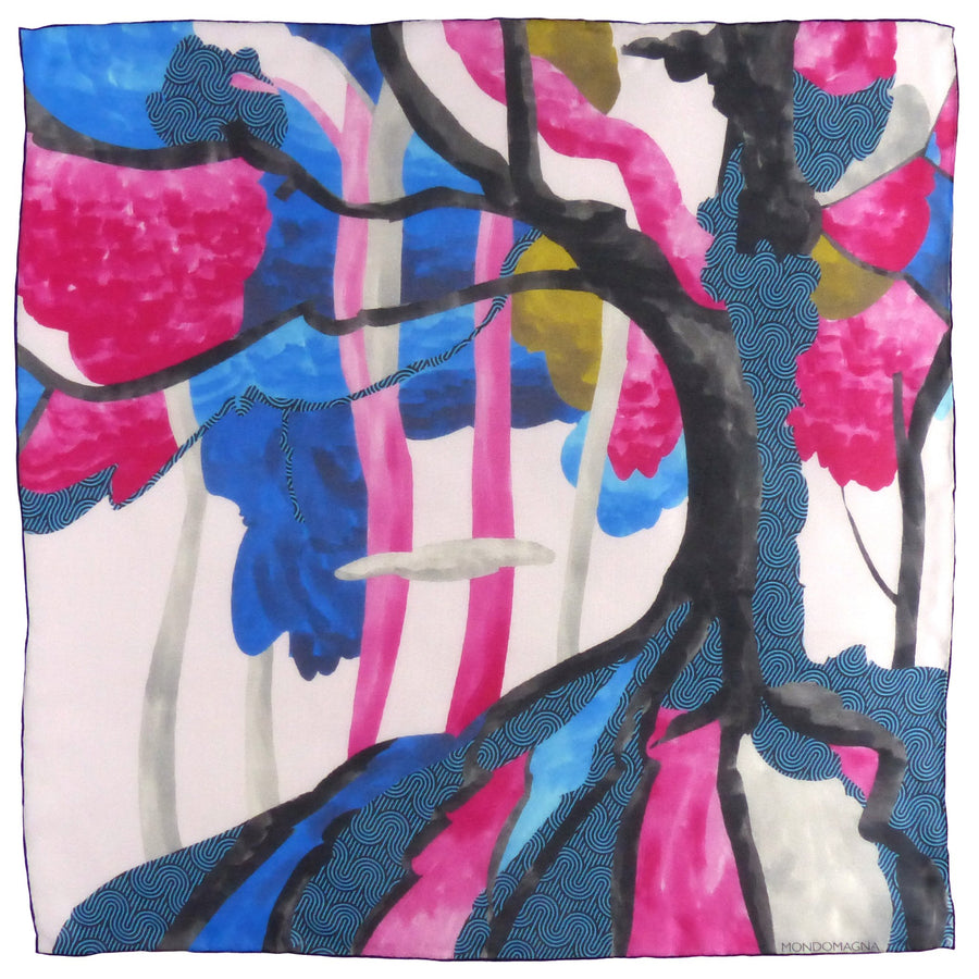 Square Silk Scarf (65cm) - Forest Blue/Pink-MondoMagna