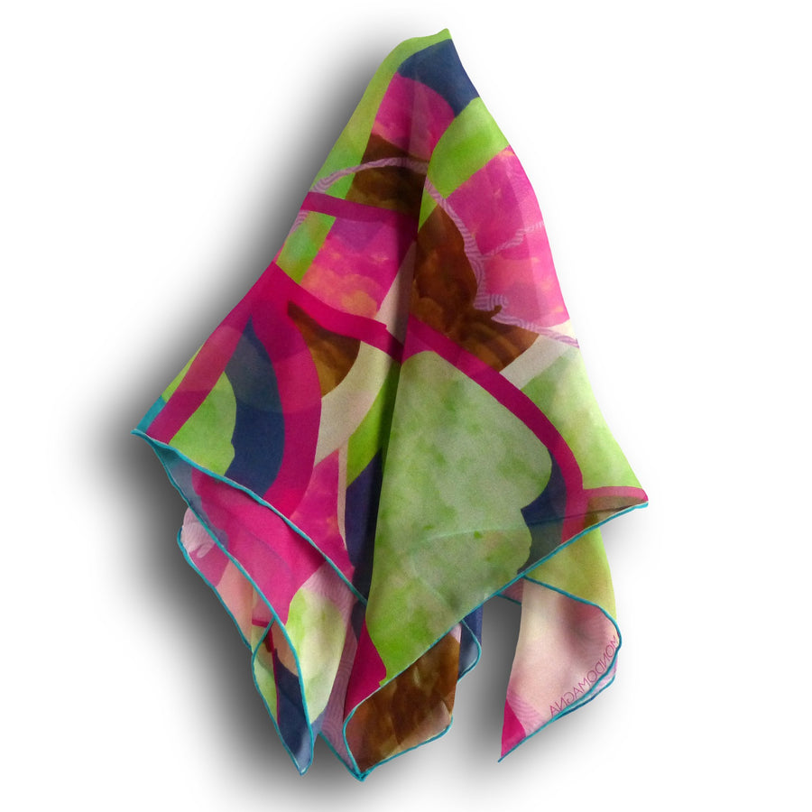 Square Silk Scarf (65cm) - Forest Lime-MondoMagna