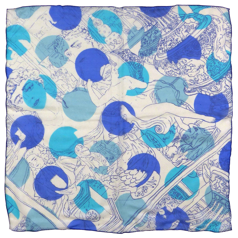 Square Silk Scarf (65cm) - Muse Blue-Made in England-MondoMagna