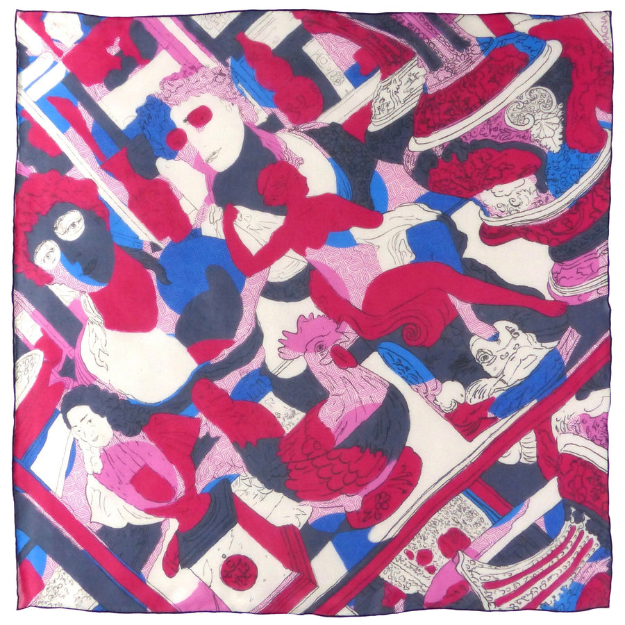 Square Silk Scarf (65cm) - Muse Red/Blue-Made in England-MondoMagna