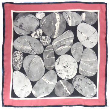 Square Silk Scarf (65cm) - Pebble Grey/Pink-Made in England-MondoMagna