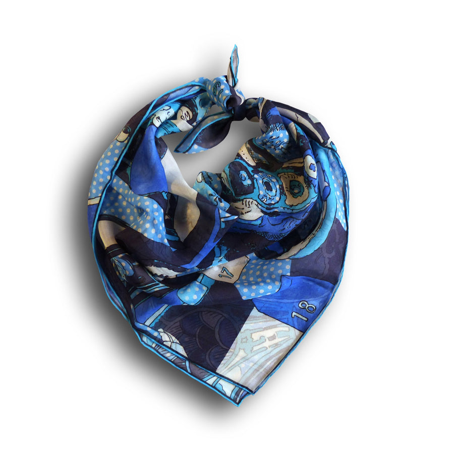 Square Silk Scarf (65cm) - Porcelain Blue-Made in England-MondoMagna