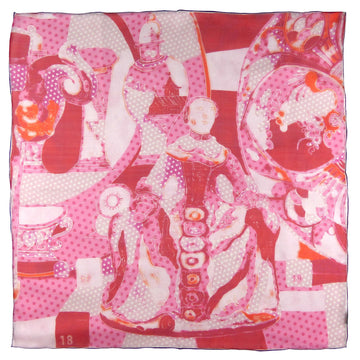 Square Silk Scarf (65cm) - Porcelain Red/Pink-Made in England-MondoMagna