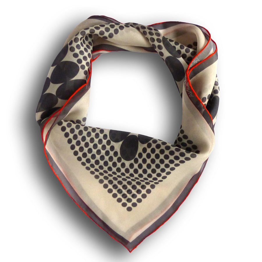 Square Silk Scarf (65cm) - Taters Grey-Made in England-MondoMagna