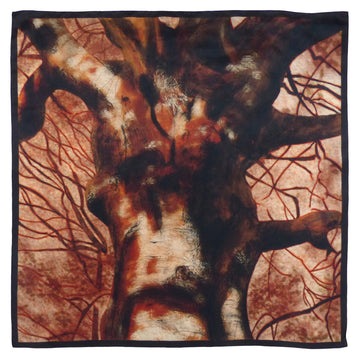 Square Silk Scarf (90cm) - Beech Burnt Sienna-Made in England-MondoMagna