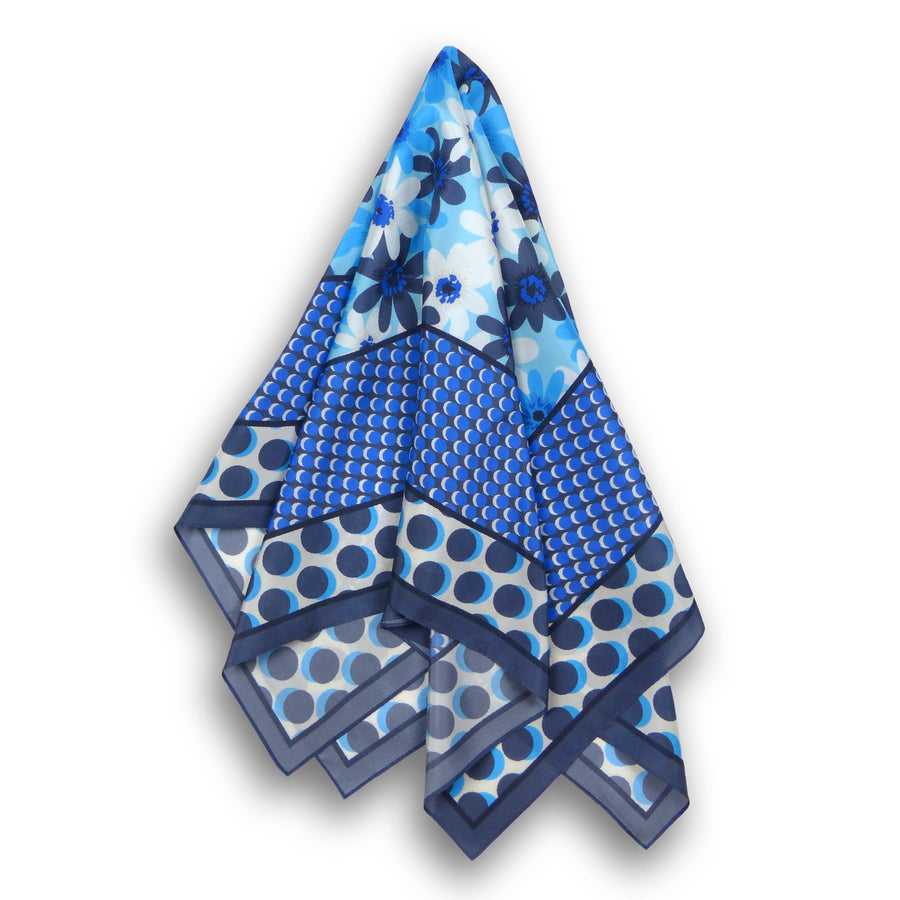 Square Silk Scarf (90cm) - Celandine Blue-Made in England-MondoMagna
