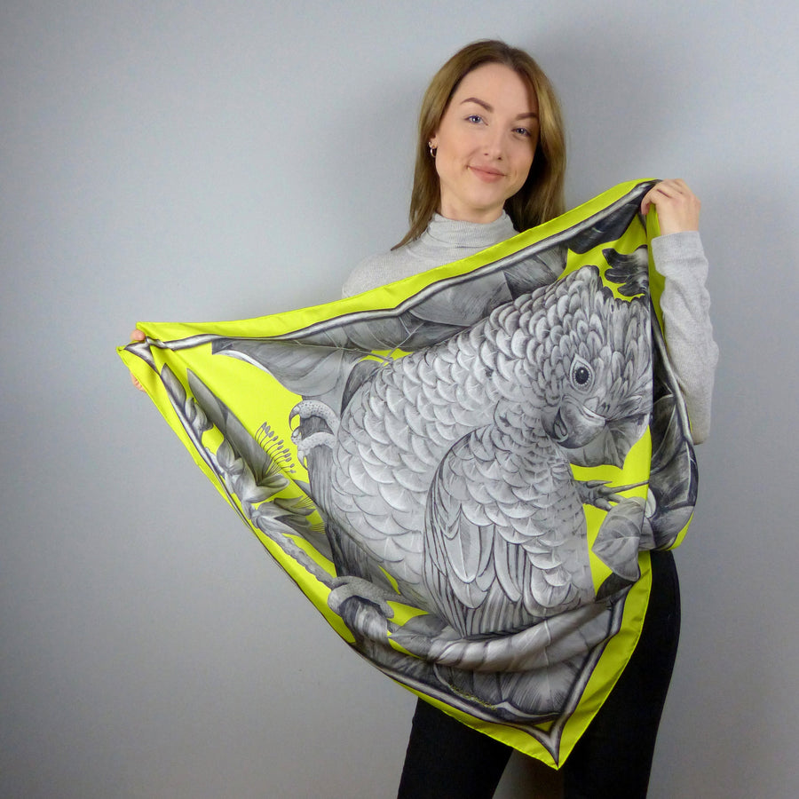 Square Silk Scarf (90cm) - Cockatoo Chartreuse-Made in England-MondoMagna