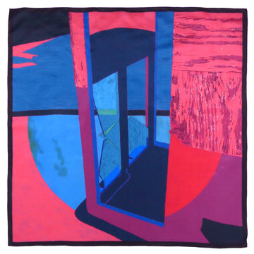 Square Silk Scarf (90cm) - Dungeness Blue/Pink-Made in England-MondoMagna