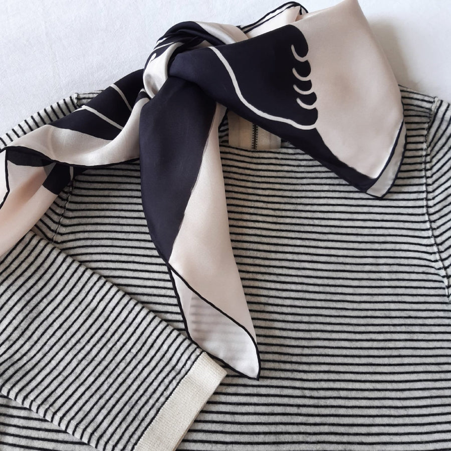 Square Silk Scarf (90cm) - Ladies Black/White-MondoMagna
