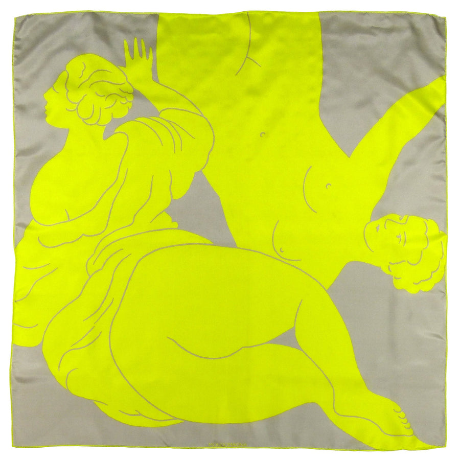 Square Silk Scarf (90cm) - Ladies Chartreuse-Made in England-MondoMagna