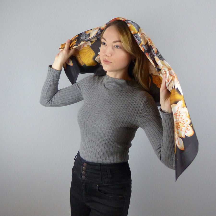 Square Silk Scarf (90cm) - Lotus Gold-MondoMagna