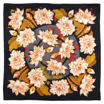 Square Silk Scarf (90cm) - Lotus Gold-Made in England-MondoMagna
