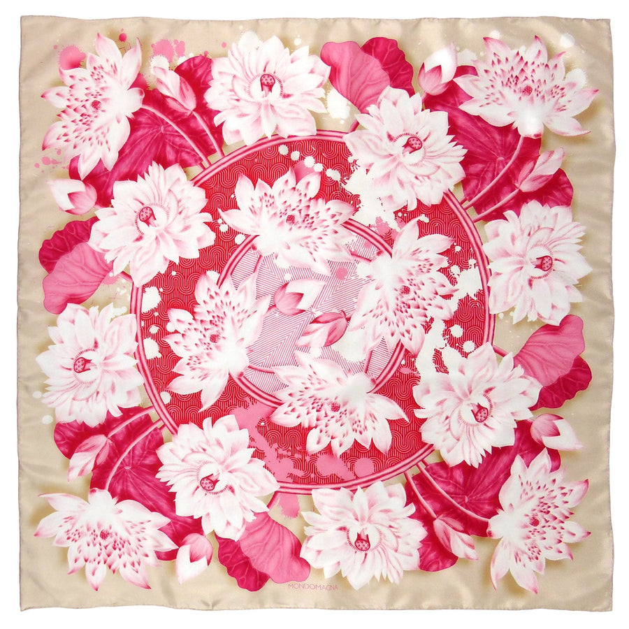 Square Silk Scarf (90cm) - Lotus - Red/Pink-MondoMagna