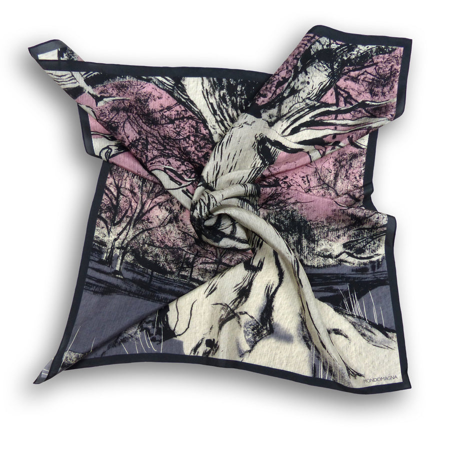 Square Silk Scarf (90cm) - Oak Grey/Pink-MondoMagna