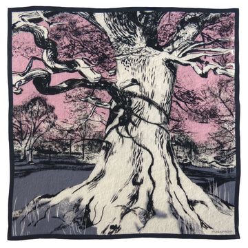 Square Silk Scarf (90cm) - Oak Grey/Pink-Made in England-MondoMagna