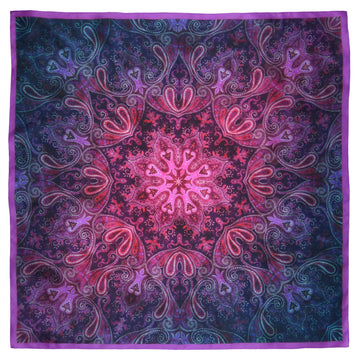 Square Silk Scarf (90cm) - Parsley Blue/Pink-Made in England-MondoMagna