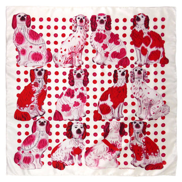 Square Silk Scarf (90cm) - Pottery Dogs - Red/White-MondoMagna